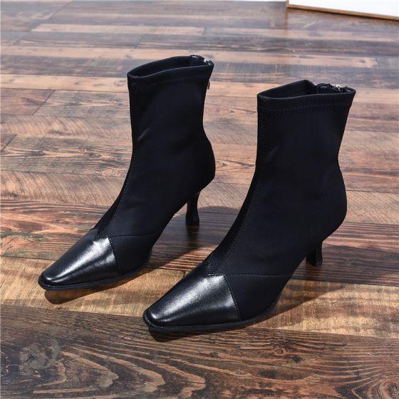 Vintage Svart Casual Kvinners støvler 2020 Lær 7 cm Stiletthæler Spisse Boots