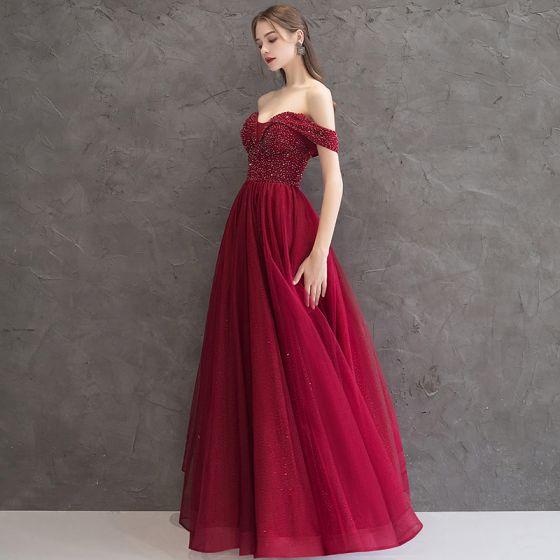 Elegantes Borgoña Vestidos de noche 2019 A-Line / Princess Fuera Del Hombro Manga Corta Glitter Tul Rebordear Largos Ruffle Sin Espalda Vestidos Formales