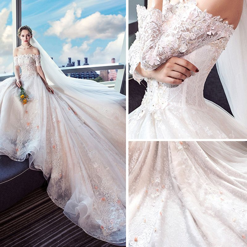 Colored Champagne Wedding Dresses 2018 Ball Gown Off-The-Shoulder Short Sleeve 3/4 Sleeve Backless Appliques Lace Beading Royal Train Ruffle