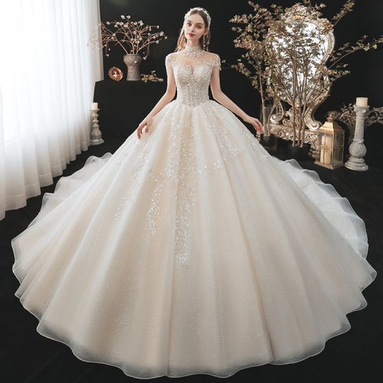 Classy Champagne Wedding Dresses 2021 Ball Gown High Neck Beading Pearl Sequins Lace Flower Appliques Short Sleeve Backless Royal Train Wedding
