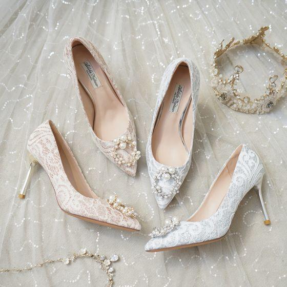 Mode Zilveren Bruidsschoenen 2020 Kant Parel Rhinestone 8 cm Naaldhakken / Stiletto Spitse Neus Huwelijk Pumps
