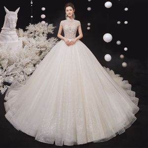 Illusion Champagne Bridal Wedding Dresses 2020 Ball Gown High Neck Short Sleeve Backless Beading Glitter Tulle Cathedral Train Ruffle
