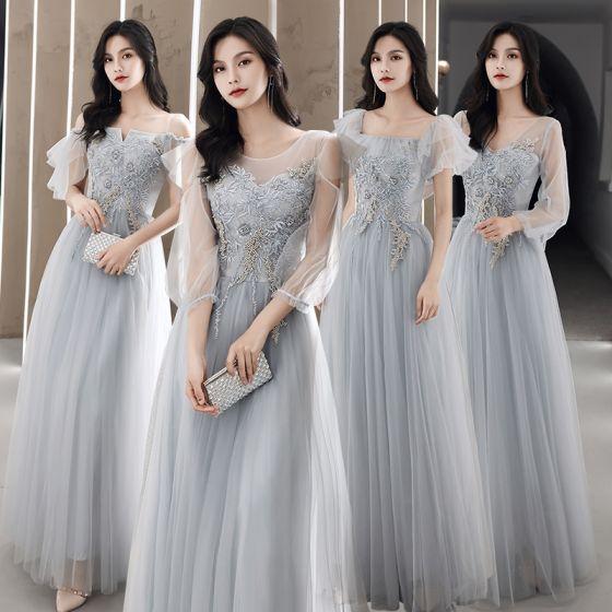 Proste / Simple Szary Sukienki Dla Druhen 2021 Princessa Wycięciem Frezowanie Perła Z Koronki Kwiat Kótkie Rękawy Bez Pleców Długie Sukienki Na Wesele