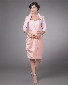 Taft Appliqueblumenentwurf Knielangen Mutter Der Braut Kleider Gäste