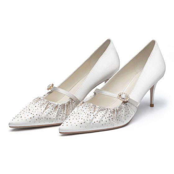 Élégant Blanche Mariage Faux Diamant Satin Chaussure De Mariée 2021 7 cm Talons Aiguilles À Bout Pointu Escarpins Talons Hauts