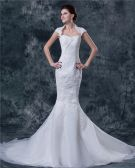 Satin Lace Embroidery Sweetheart Cathedral Train Mermaid Wedding Dresses