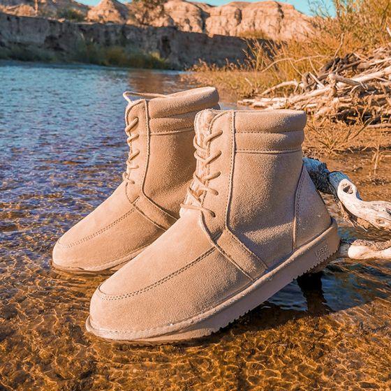 Schlicht Beige Schneestiefel 2020 Woll Wasserdichte Leder Schnüren Ankle Boots Winter Flache Freizeit Runde Zeh Stiefel Damen