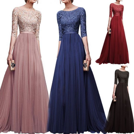 Modest / Simple Navy Blue Maxi Dresses 2018 A-Line / Princess Lace Sash Scoop Neck 1/2 Sleeves Floor-Length / Long Womens Clothing