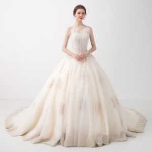 Elegant Champagne Wedding Dresses 2018 Ball Gown Beading Lace Flower Sequins Pleated Spaghetti Straps Backless Sleeveless Chapel Train Wedding
