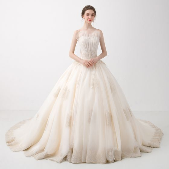 Elegant Champagne Wedding Dresses 2018 Ball Gown Beading Lace Flower ...