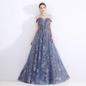 Chic / Beautiful Ocean Blue Evening Dresses  2020 A-Line / Princess Off-The-Shoulder See-through Deep V-Neck Short Sleeve Appliques Sequins Floor-Length / Long Ruffle Backless Formal Dresses