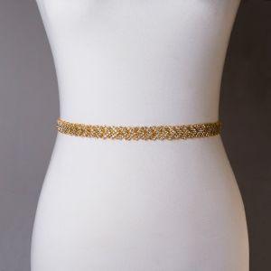Charming Best Gold White Prom Sash 2020 Satin Metal Handmade  Beading Rhinestone Wedding Evening Party Accessories