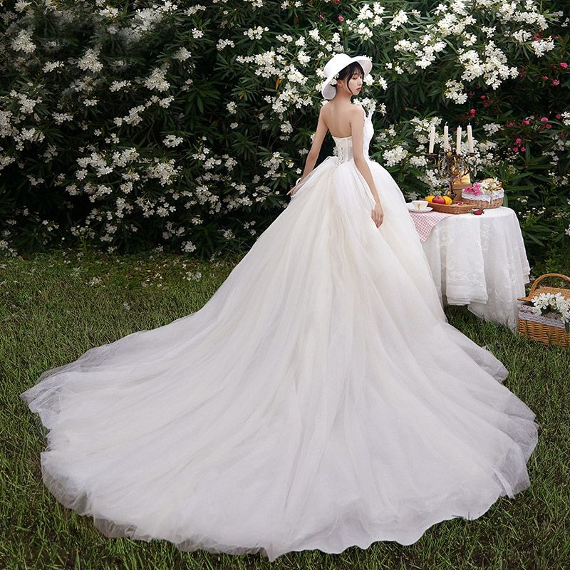 Charming Champagne Wedding Dresses 2019 A-Line / Princess Strapless Beading Pearl Sleeveless Backless Cathedral Train