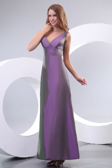 2015 Lovely Floor-length A-line V-neck Purple Bridesmaid Dress