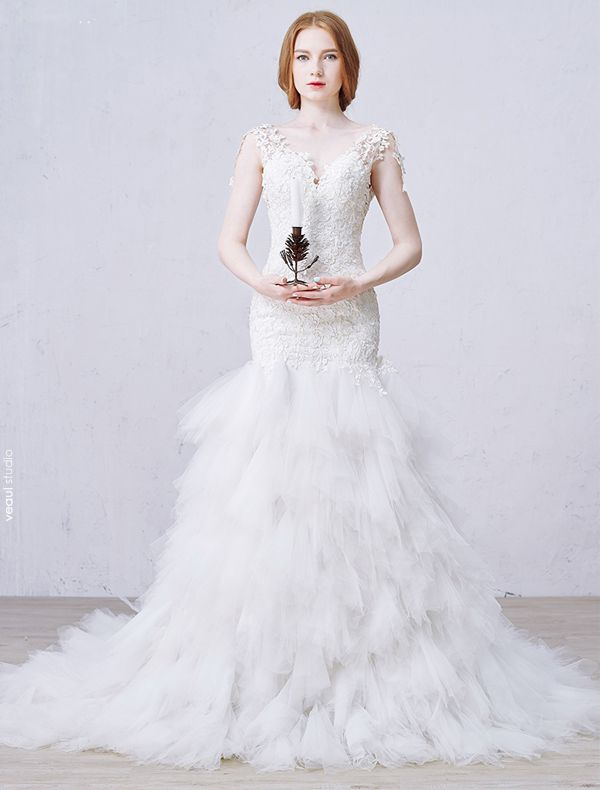 Stunning Mermaid V-neck Backless Cascading Ruffles Long Trailing Lace Wedding Dress