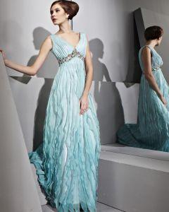Bodenlange V-ausschnitt Ärmellose Satin Tencel Abendkleider