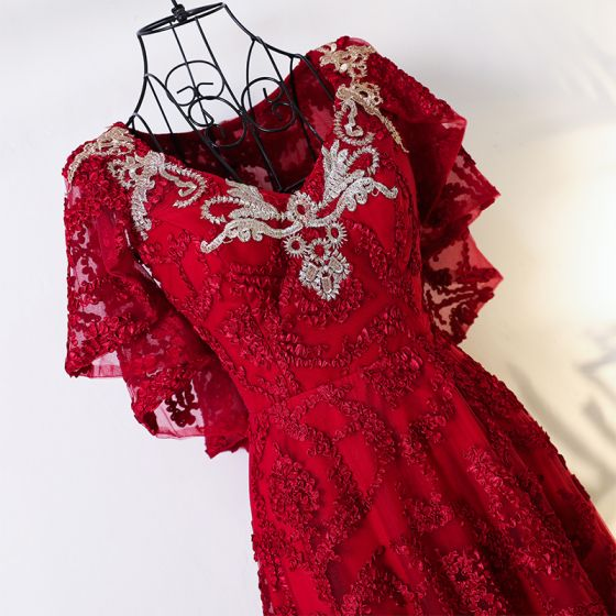 Chic / Beautiful Red Chinese style Evening Dresses  2017 A-Line / Princess V-Neck Short Sleeve Crossed Straps Appliques Flower Tea-length Lace Evening Party