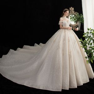 Vintage / Retro Champagne Bridal Wedding Dresses 2020 Ball Gown See-through High Neck Short Sleeve Backless Appliques Lace Beading Glitter Tulle Cathedral Train Ruffle
