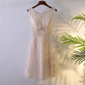 Elegante Perle Rosa Festliche Kleider Abiballkleider 2017 Mit Spitze Reißverschluss Kurze Rundhalsausschnitt Ärmellos A Linie