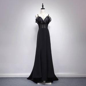 Sexy Black Evening Dresses  2017 A-Line / Princess V-Neck Spaghetti Straps Sleeveless Floor-Length / Long Backless Pierced Formal Dresses