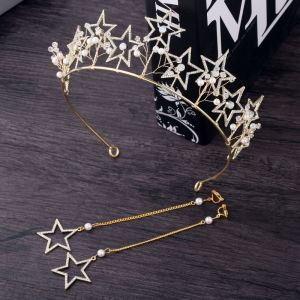 Chic / Beautiful Gold Bridal Jewelry 2018 Metal Pearl Crystal Rhinestone Star Tiara Earrings Wedding Accessories