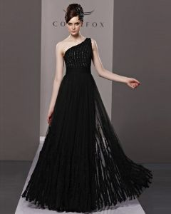 One Shoulder Beading Floor Length Tulle Woman Evening Dress