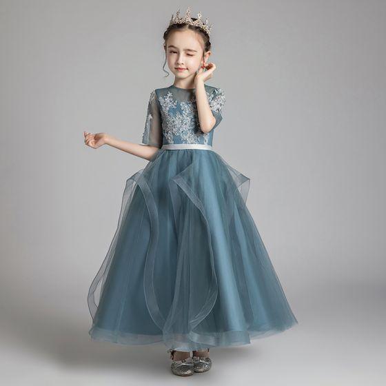 Chic / Belle Bleu D'encre Transparentes Robe Ceremonie Fille 2020 Princesse Encolure Dégagée 1/2 Manches Ceinture Appliques En Dentelle Perlage Longue Volants Robe Pour Mariage