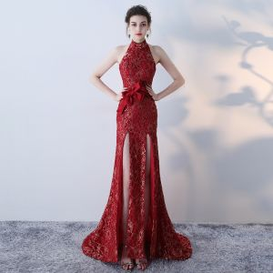 Modern / Fashion Gold Red Evening Dresses  2017 Trumpet / Mermaid Halter Sleeveless Bow Sash Split Front Sweep Train Backless Formal Dresses