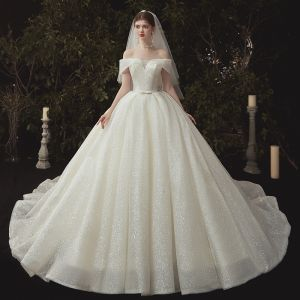 High-end Ivory Glitter Wedding Dresses 2020 Ball Gown Off-The-Shoulder Sequins Short Sleeve Backless Cathedral Train