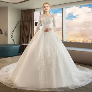 Chic / Beautiful Ivory Wedding Dresses 2019 A-Line / Princess Off-The-Shoulder Lace Flower Appliques 3/4 Sleeve Backless Chapel Train