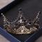 Vintage / Retro Baroque Black Bridal Jewelry 2019 Metal Tiara Tassel Earrings Rhinestone Wedding Accessories
