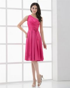 Taffeta Flower One Shoulder Tea Length Cocktail Party Dress