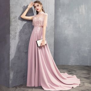 Luxury / Gorgeous Candy Pink See-through Evening Dresses  2019 A-Line / Princess High Neck Sleeveless Appliques Lace Beading Tassel Sweep Train Ruffle Backless Formal Dresses