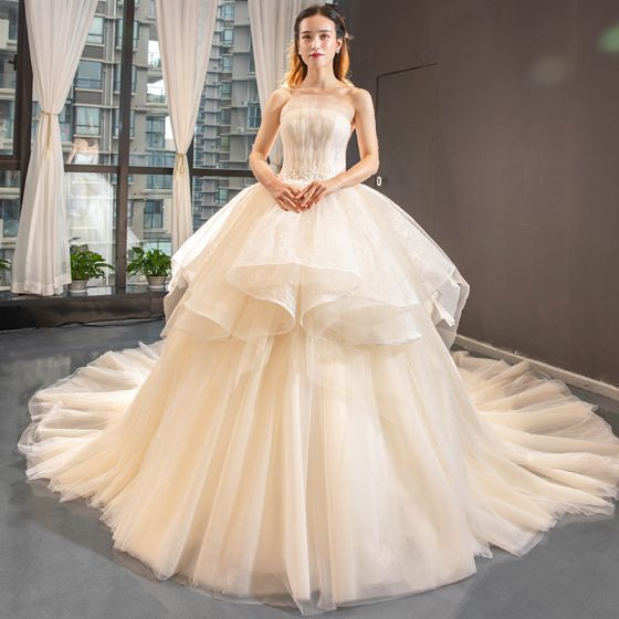 High-end Champagne Bridal Wedding Dresses 2020 Ball Gown Strapless Sleeveless Backless Appliques Lace Cathedral Train Ruffle