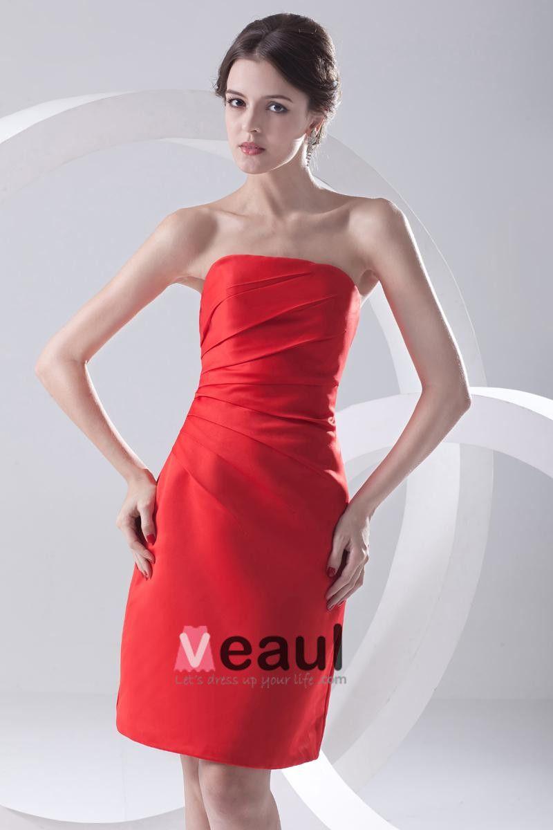 Strapless Neckline Thigh Length Sleeveless Pleated Taffeta Woman Bridesmaids Dresses