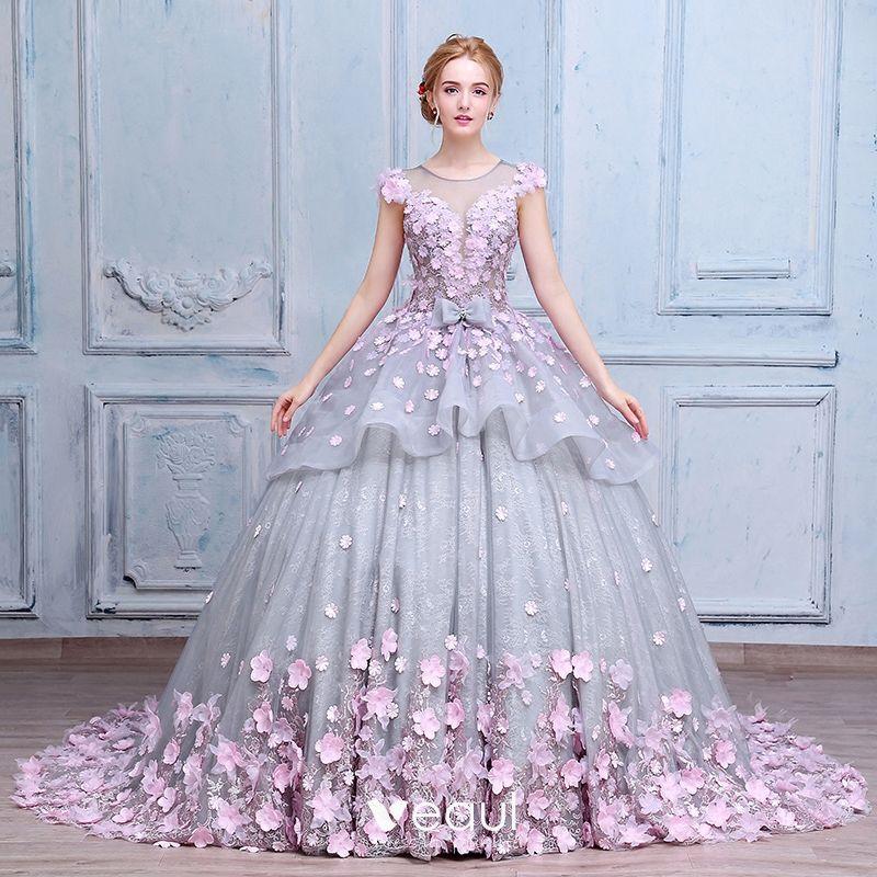 Stunning Amazing Unique Wedding Dresses 2017 Scoop Neck Sleeveless Appliques Bow Lace Blushing Pink Flower Grey