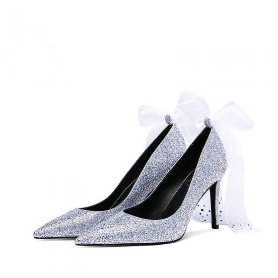 Luxe Glitter Zilveren Bruidsschoenen 2019 Strik Leer Rhinestone 9 cm Naaldhakken / Stiletto Spitse Neus Huwelijk Pumps