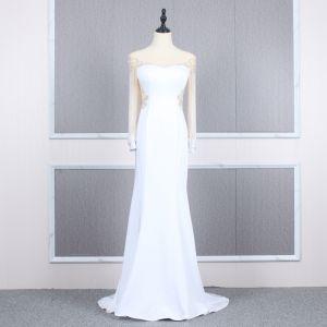High End Weiß Durchsichtige Abendkleider 2020 Meerjungfrau Rundhalsausschnitt Geschwollenes Lange Ärmel Perlenstickerei Sweep / Pinsel Zug Festliche Kleider