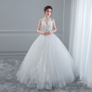 Sexy White Wedding Dresses 2018 Ball Gown Lace Flower Sweetheart Backless Sleeveless Floor-Length / Long Wedding
