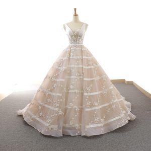 Chic / Beautiful Ivory Wedding Dresses 2018 Ball Gown Appliques Sash V-Neck Backless Sleeveless Chapel Train Wedding