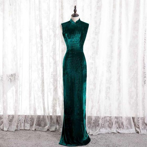 Style Chinois Vert Foncé Cheongsam Trompette / Sirène Robe De Soirée 2021 Col Haut Sans Manches Daim Soirée Longue Robe De Ceremonie