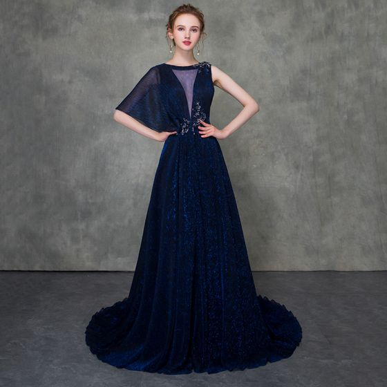 Mode Königliches Blau Abendkleider Abnehmbar Mit Schal 2018 A Linie Durchsichtige Rundhalsausschnitt Ärmellos Perlenstickerei Hof-Schleppe Rüschen Festliche Kleider