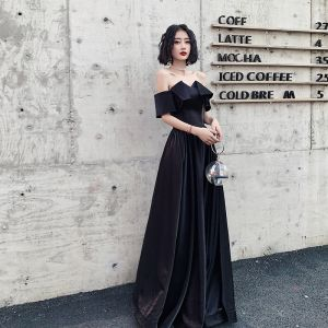 Elegant Black Evening Dresses  2020 A-Line / Princess Off-The-Shoulder Short Sleeve Backless Floor-Length / Long Formal Dresses