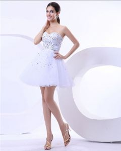 Empire Satin Yarn Beading Sweetheart Mini Graduation Party Dresses