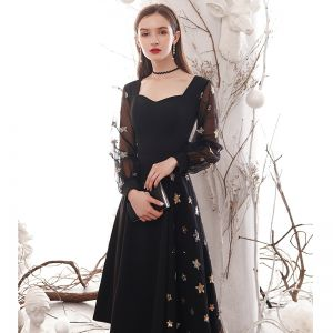Fashion Black Homecoming Graduation Dresses 2020 A-Line / Princess Star Sequins Square Neckline Long Sleeve Tea-length Formal Dresses