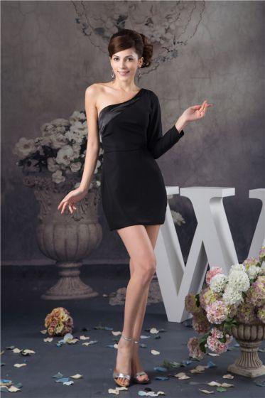 14c1ce181e Słodkie Jedno Ramię Z Długim Rękawem Czarna Sukienki Koktajlowe Simple  Sukienki Wizytowe