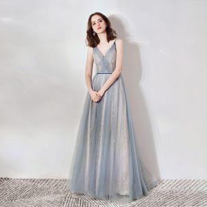 Elegant Grey Evening Dresses  2019 A-Line / Princess Deep V-Neck Sleeveless Beading Sash Glitter Tulle Floor-Length / Long Ruffle Backless Formal Dresses