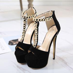 Abordable Noire Soirée Sandales Femme 2020 T-Strap 15 cm Talons Aiguilles Peep Toes / Bout Ouvert Sandales