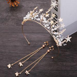 Chic / Belle Doré Étoile Bijoux Mariage 2019 Métal Perle Cristal Tiare Gland Boucles D'Oreilles Mariage Accessorize