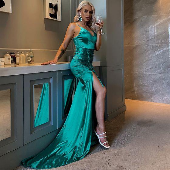 Sexy Green Evening Dresses  2020 Trumpet / Mermaid Spaghetti Straps Sleeveless Split Front Sweep Train Backless Formal Dresses